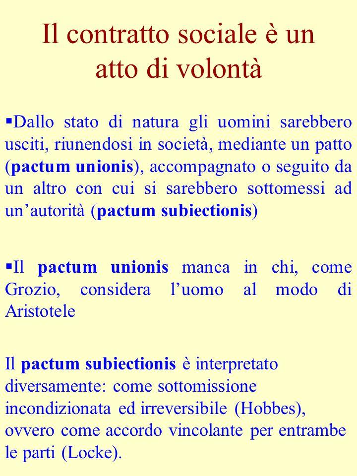 Il contratto sociale è un atto di volontà Dallo stato di natura gli uomini sarebbero usciti, riunendosi in società, mediante un patto (pactum unionis)
