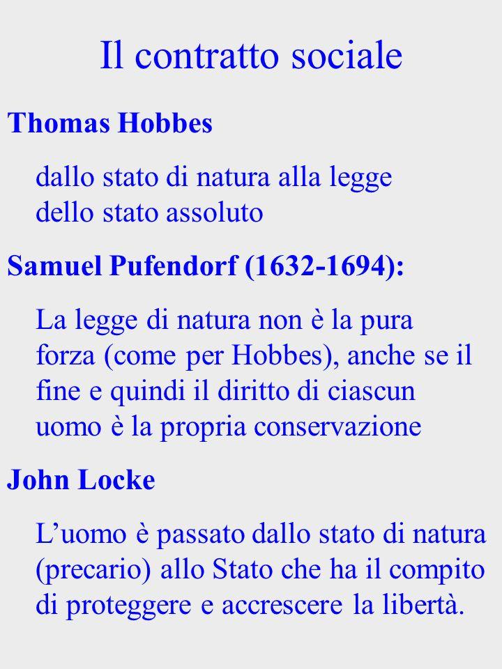 Il contratto sociale Thomas Hobbes dallo stato di natura alla legge dello stato assoluto Samuel Pufendorf (1632-1694): La legge di natura non è la pur