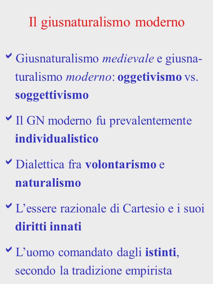 Il giusnaturalismo moderno Giusnaturalismo medievale e giusna- turalismo moderno: oggetivismo vs. soggettivismo Il GN moderno fu prevalentemente indiv