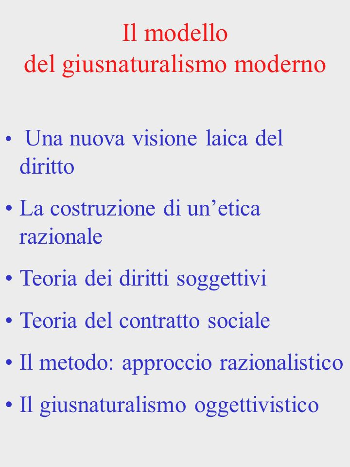 Il modello del giusnaturalismo moderno Una nuova visione laica del diritto La costruzione di unetica razionale Teoria dei diritti soggettivi Teoria de