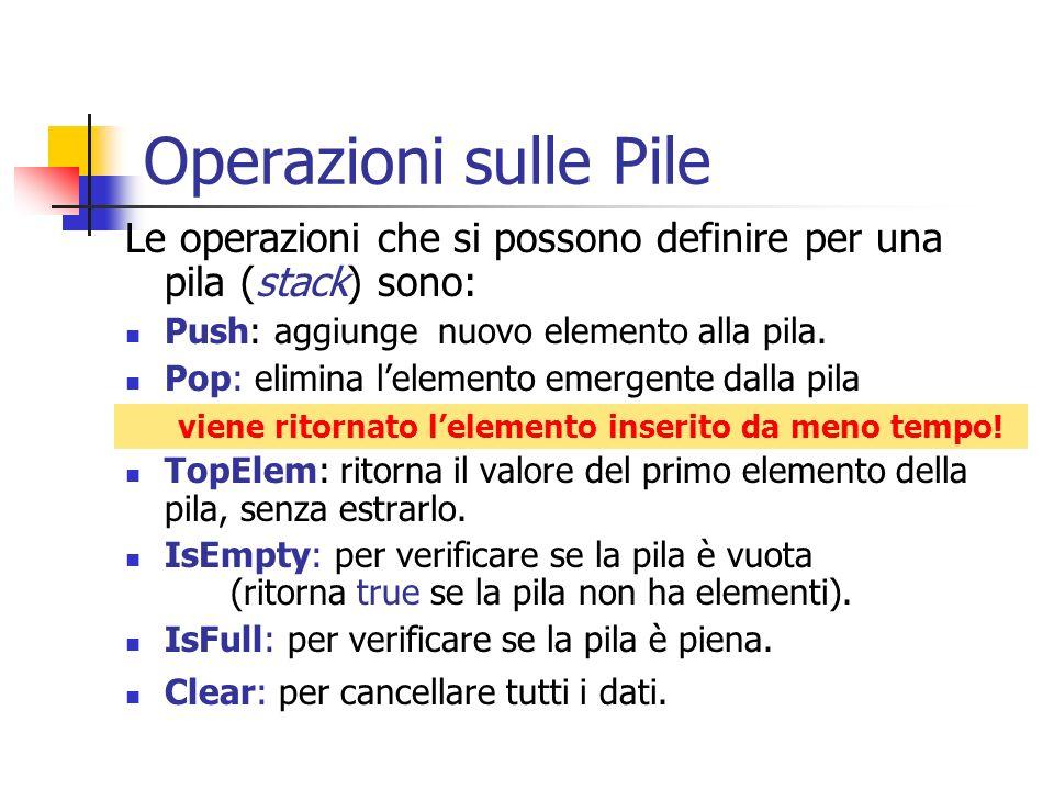 Operazioni sulle Pile Le operazioni che si possono definire per una pila (stack) sono: Push: aggiunge nuovo elemento alla pila. Pop: elimina lelemento