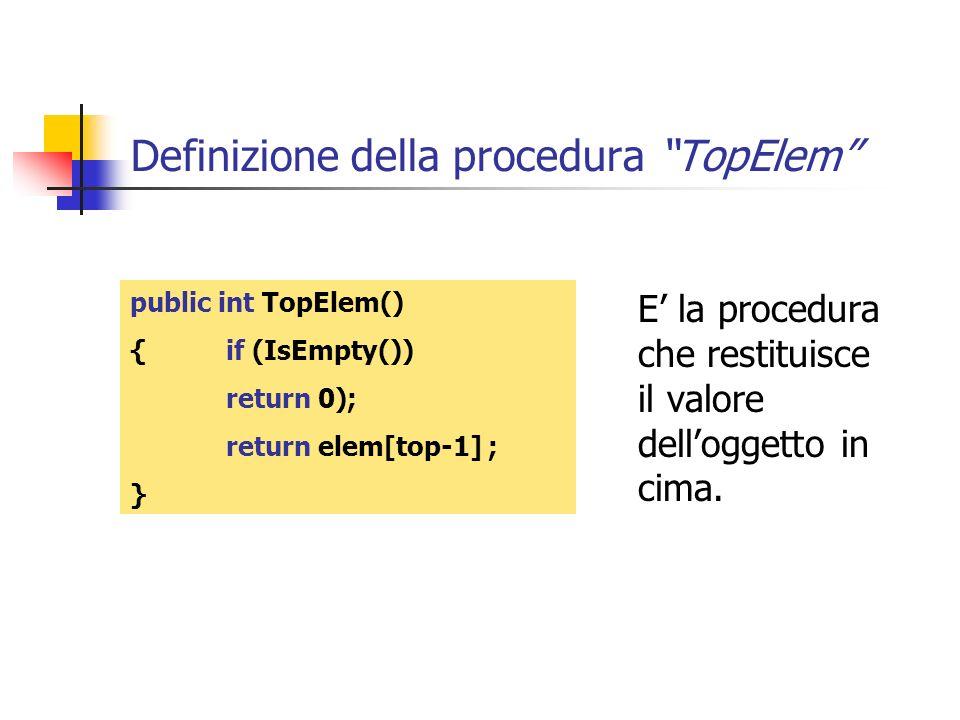 Definizione della procedura TopElem E la procedura che restituisce il valore delloggetto in cima. public int TopElem() {if (IsEmpty()) return 0); retu