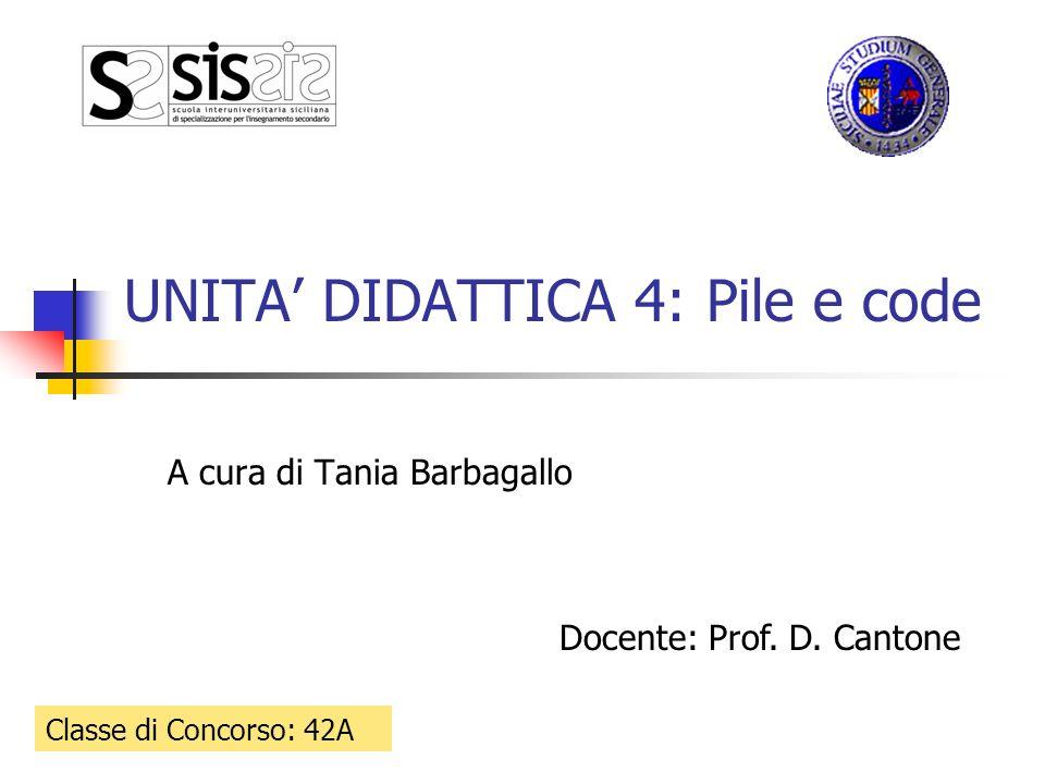 UNITA DIDATTICA 4: Pile e code A cura di Tania Barbagallo Classe di Concorso: 42A Docente: Prof. D. Cantone