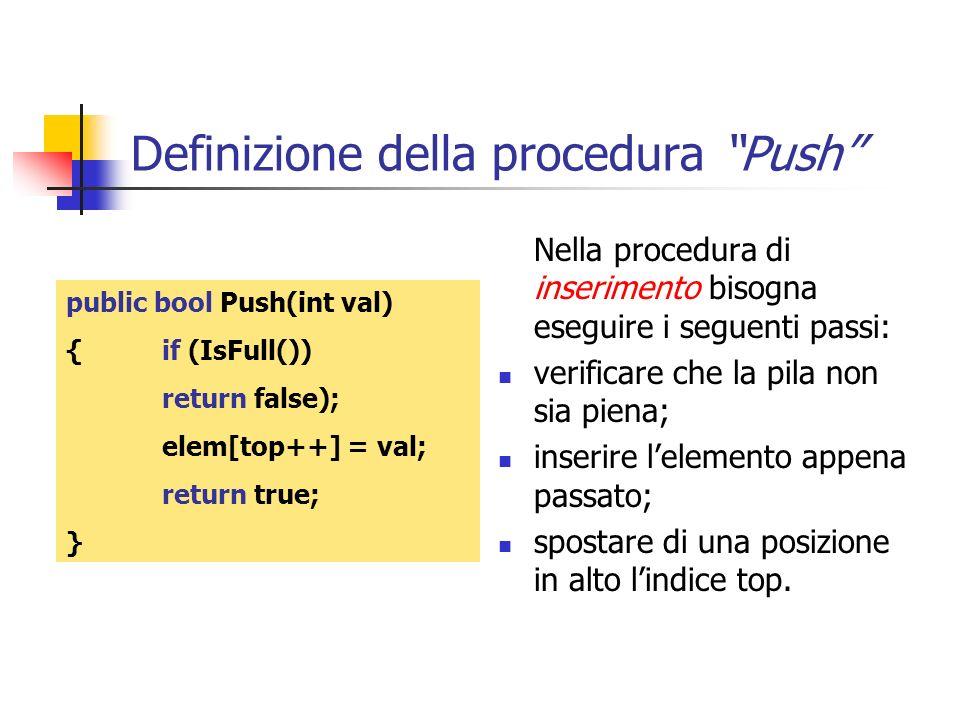 Definizione della procedura Push Nella procedura di inserimento bisogna eseguire i seguenti passi: verificare che la pila non sia piena; inserire lele