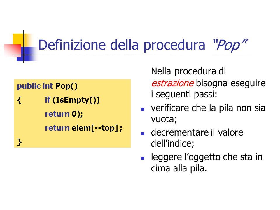Definizione della procedura Pop Nella procedura di estrazione bisogna eseguire i seguenti passi: verificare che la pila non sia vuota; decrementare il