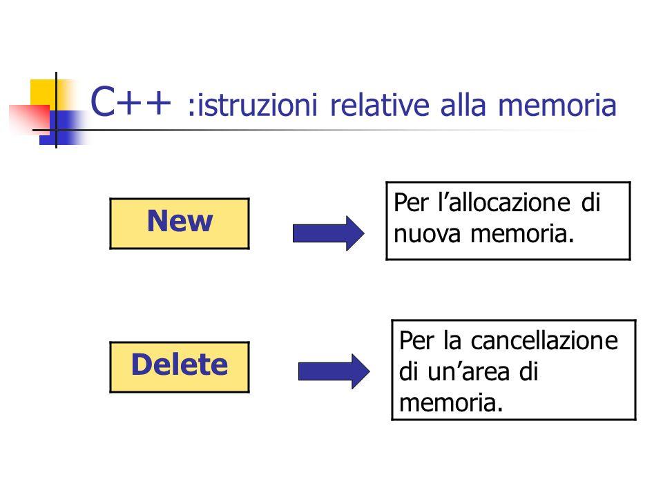 C++ :istruzioni relative alla memoria New Per lallocazione di nuova memoria. Delete Per la cancellazione di unarea di memoria.