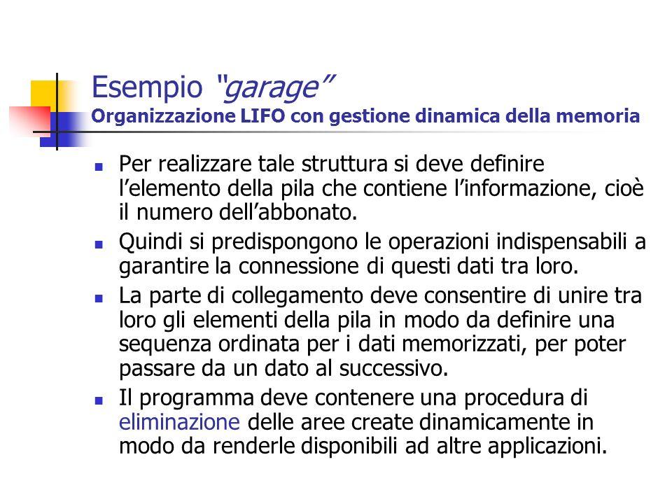 Esempio garage Organizzazione LIFO con gestione dinamica della memoria Per realizzare tale struttura si deve definire lelemento della pila che contien