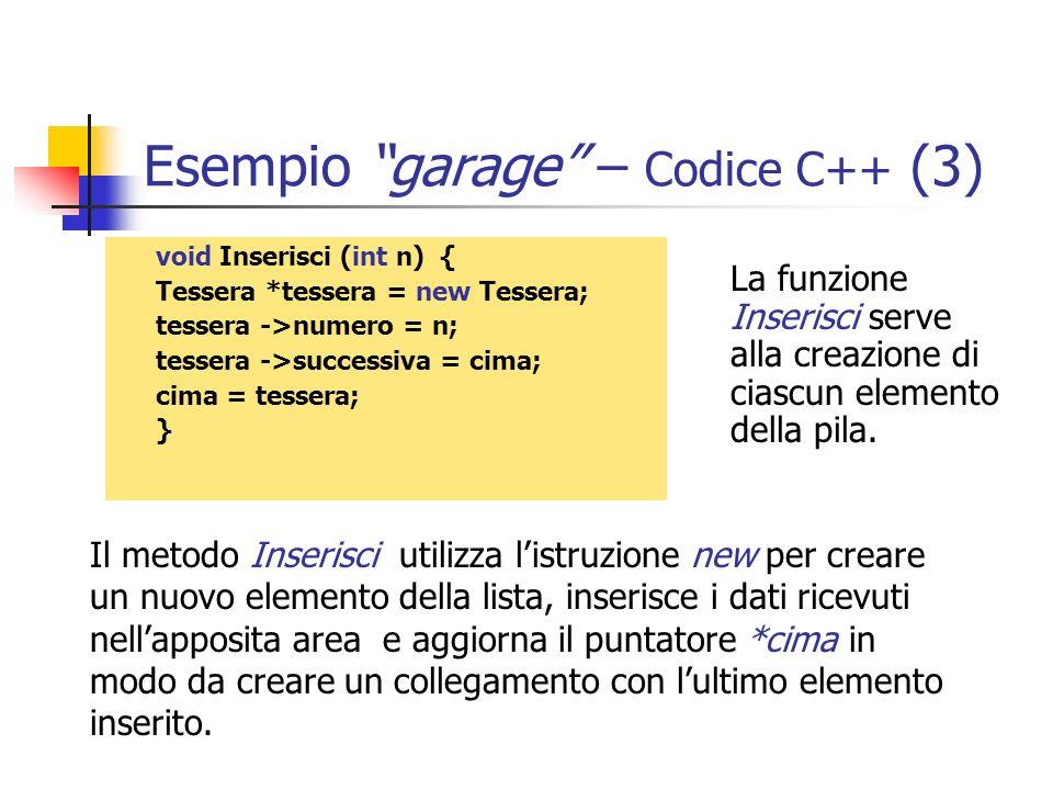 Esempio garage – Codice C++ (3) void Inserisci (int n) { Tessera *tessera = new Tessera; tessera ->numero = n; tessera ->successiva = cima; cima = tes