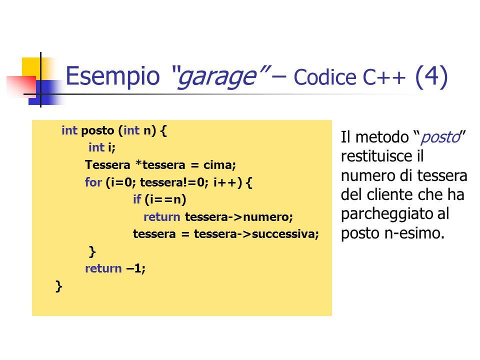 Esempio garage – Codice C++ (4) int posto (int n) { int i; Tessera *tessera = cima; for (i=0; tessera!=0; i++) { if (i==n) return tessera->numero; tes