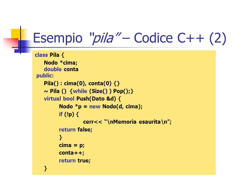Esempio pila – Codice C++ (2) class Pila { Nodo *cima; double conta public: Pila() : cima(0), conta(0) {} ~ Pila () {while (Size() ) Pop();} virtual b