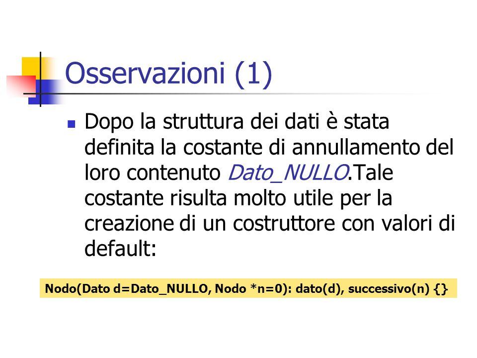 Osservazioni (1) Dopo la struttura dei dati è stata definita la costante di annullamento del loro contenuto Dato_NULLO.Tale costante risulta molto uti