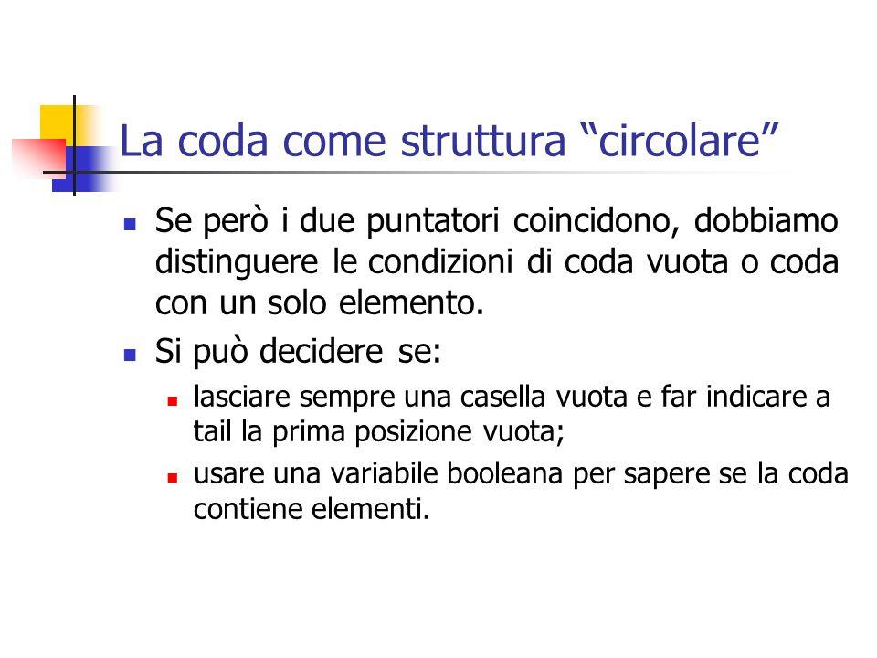 La coda come struttura circolare Se però i due puntatori coincidono, dobbiamo distinguere le condizioni di coda vuota o coda con un solo elemento. Si