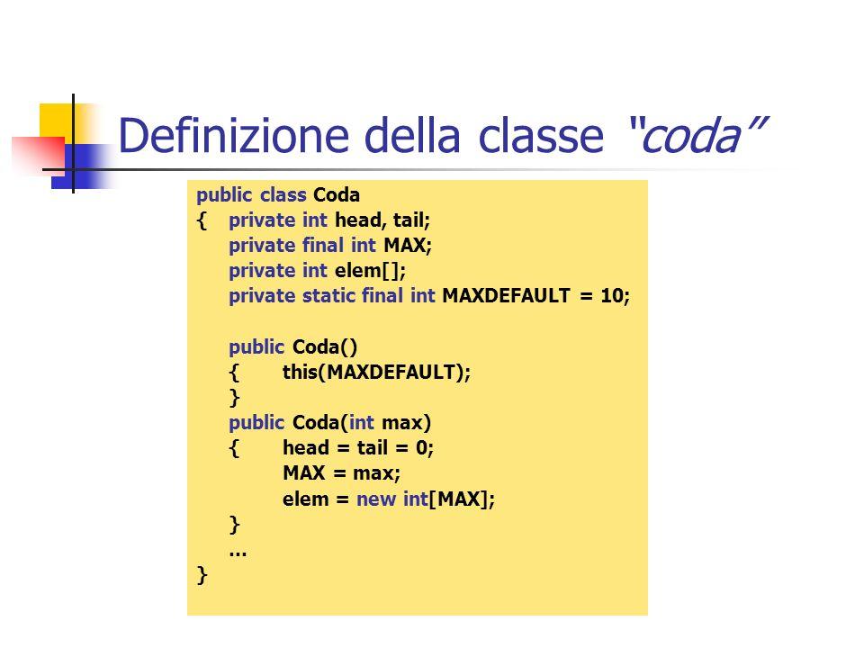 Definizione della classe coda public class Coda { private int head, tail; private final int MAX; private int elem[]; private static final int MAXDEFAU