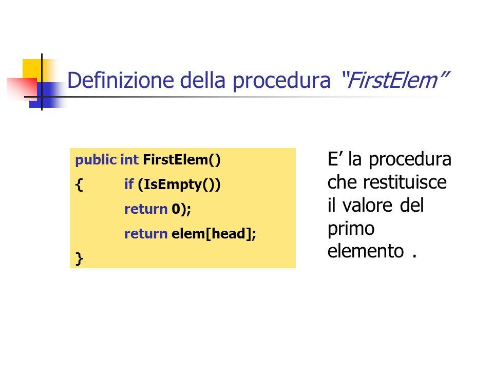 Definizione della procedura FirstElem public int FirstElem() {if (IsEmpty()) return 0); return elem[head]; } E la procedura che restituisce il valore