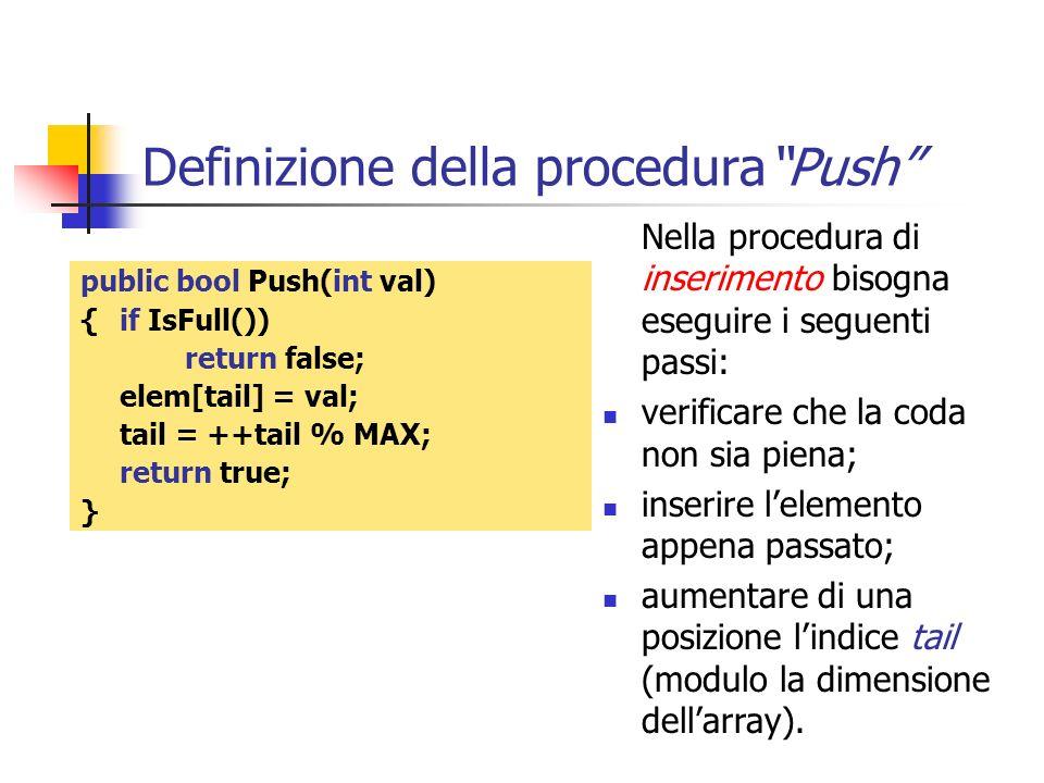 Definizione della proceduraPush public bool Push(int val) { if IsFull()) return false; elem[tail] = val; tail = ++tail % MAX; return true; } Nella pro