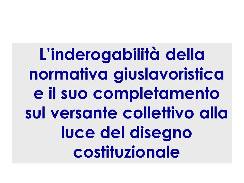 Linderogabilità della normativa giuslavoristica e il suo completamento sul versante collettivo alla luce del disegno costituzionale