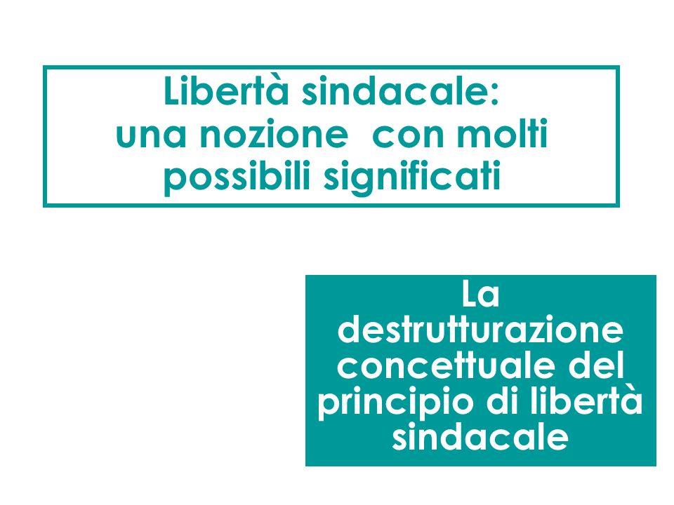Il principio costituzionale di libertà sindacale Lorganizzazione sindacale èlibera Lorganizzazione sindacale è libera (art. 39 Cost.) E difficile dire
