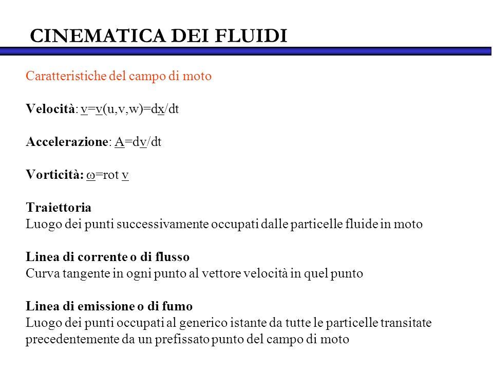 CINEMATICA DEI FLUIDI Caratteristiche del campo di moto Velocità: v=v(u,v,w)=dx/dt Accelerazione: A=dv/dt Vorticità: =rot v Traiettoria Luogo dei punt
