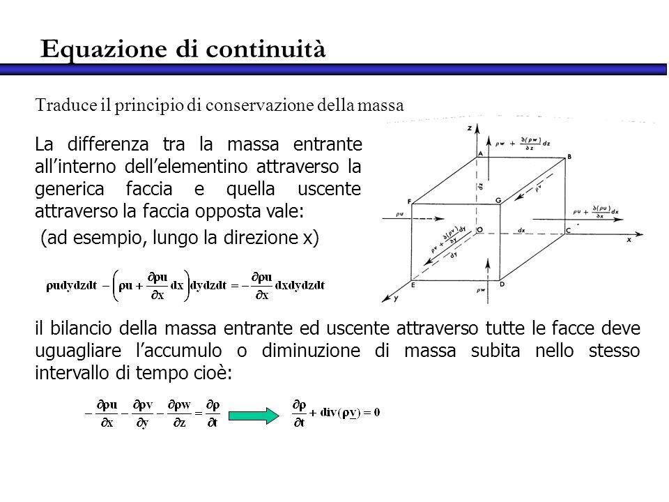 Equazione di continuità Traduce il principio di conservazione della massa La differenza tra la massa entrante allinterno dellelementino attraverso la