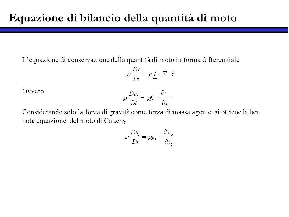 Equazione di bilancio della quantità di moto Lequazione di conservazione della quantità di moto in forma differenziale Ovvero Considerando solo la for