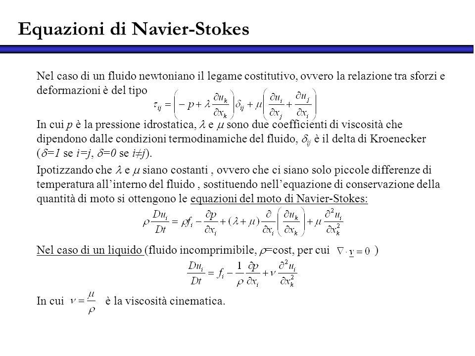 Equazioni di Navier-Stokes Nel caso di un fluido newtoniano il legame costitutivo, ovvero la relazione tra sforzi e deformazioni è del tipo In cui p è