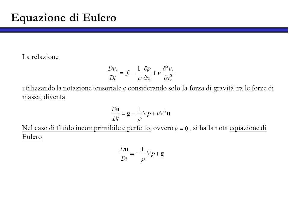 La relazione utilizzando la notazione tensoriale e considerando solo la forza di gravità tra le forze di massa, diventa Nel caso di fluido incomprimib