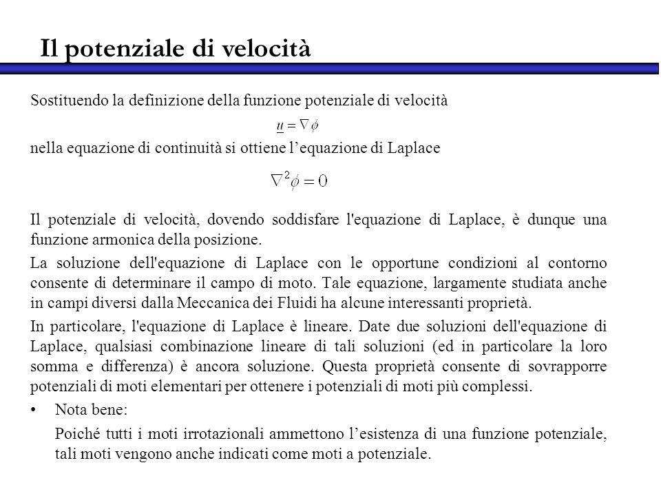 Il potenziale di velocità Sostituendo la definizione della funzione potenziale di velocità nella equazione di continuità si ottiene lequazione di Lapl