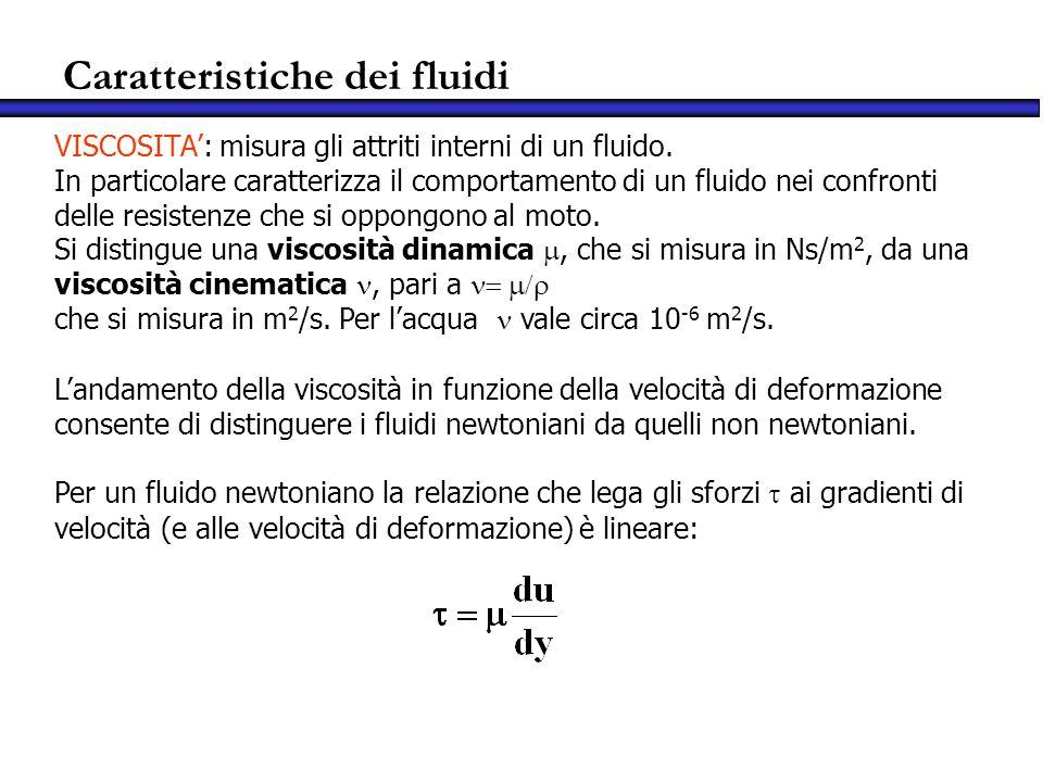 Caratteristiche dei fluidi VISCOSITA: misura gli attriti interni di un fluido. In particolare caratterizza il comportamento di un fluido nei confronti