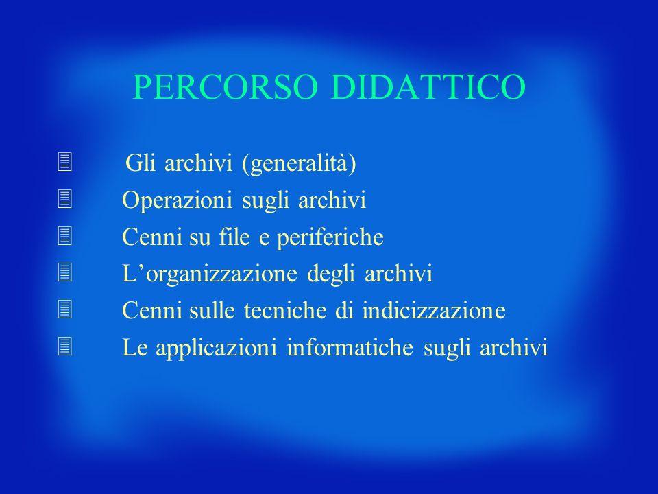 PERCORSO DIDATTICO 3 Gli archivi (generalità) 3 Operazioni sugli archivi 3 Cenni su file e periferiche 3 Lorganizzazione degli archivi 3 Cenni sulle t