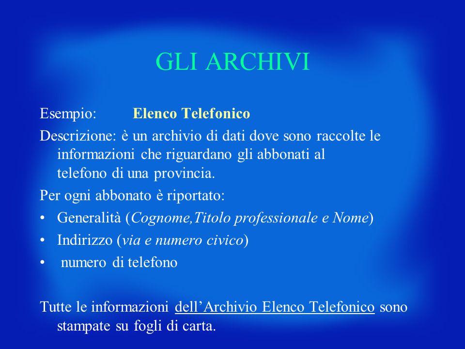 GLI ARCHIVI Esempio:Elenco Telefonico Descrizione: è un archivio di dati dove sono raccolte le informazioni che riguardano gli abbonati al telefono di