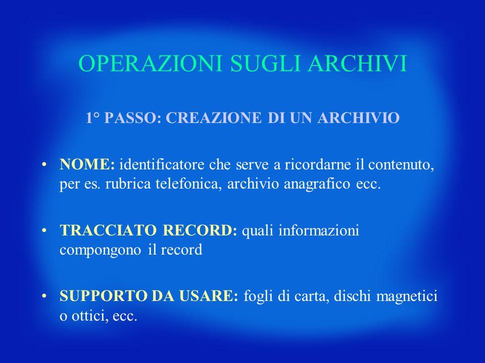 OPERAZIONI SUGLI ARCHIVI 1° PASSO: CREAZIONE DI UN ARCHIVIO NOME: identificatore che serve a ricordarne il contenuto, per es. rubrica telefonica, arch