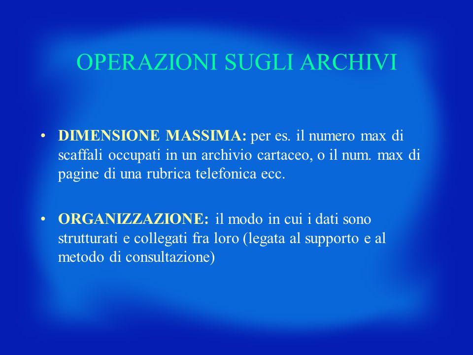OPERAZIONI SUGLI ARCHIVI DIMENSIONE MASSIMA: per es. il numero max di scaffali occupati in un archivio cartaceo, o il num. max di pagine di una rubric