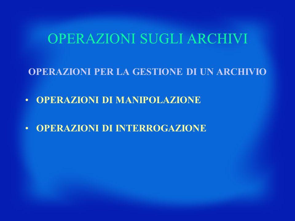 OPERAZIONI SUGLI ARCHIVI OPERAZIONI PER LA GESTIONE DI UN ARCHIVIO OPERAZIONI DI MANIPOLAZIONE OPERAZIONI DI INTERROGAZIONE