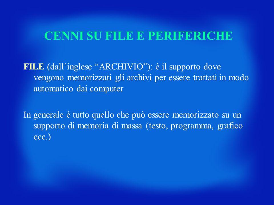 CENNI SU FILE E PERIFERICHE FILE (dallinglese ARCHIVIO): è il supporto dove vengono memorizzati gli archivi per essere trattati in modo automatico dai