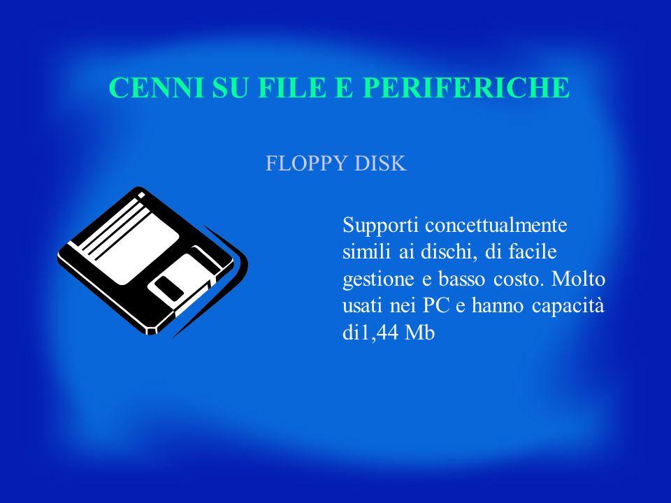 CENNI SU FILE E PERIFERICHE FLOPPY DISK Supporti concettualmente simili ai dischi, di facile gestione e basso costo. Molto usati nei PC e hanno capaci