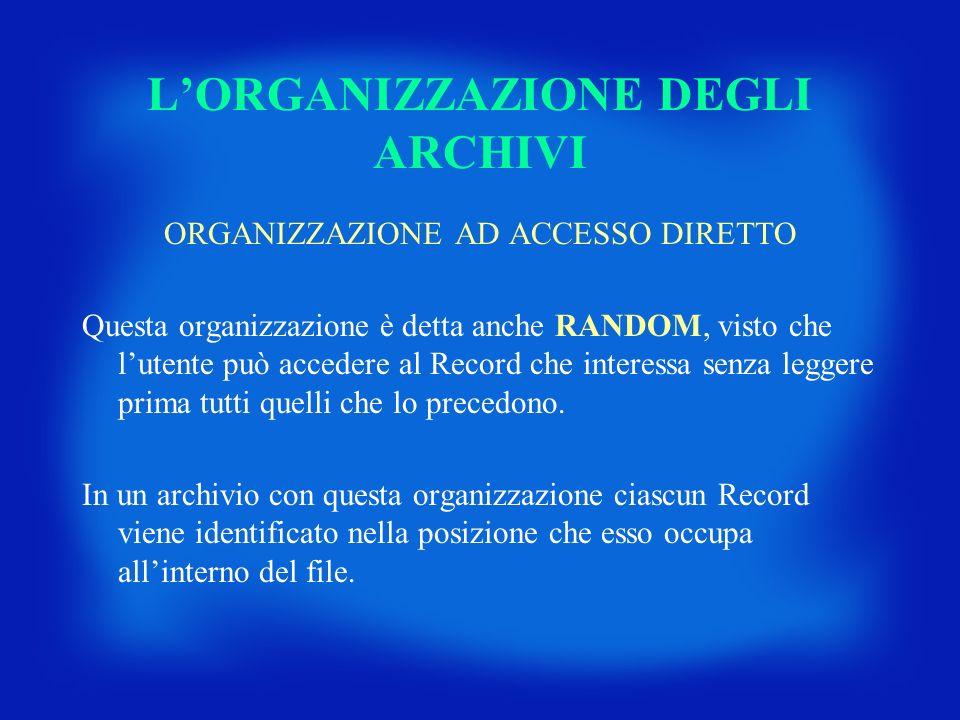 LORGANIZZAZIONE DEGLI ARCHIVI ORGANIZZAZIONE AD ACCESSO DIRETTO Questa organizzazione è detta anche RANDOM, visto che lutente può accedere al Record c
