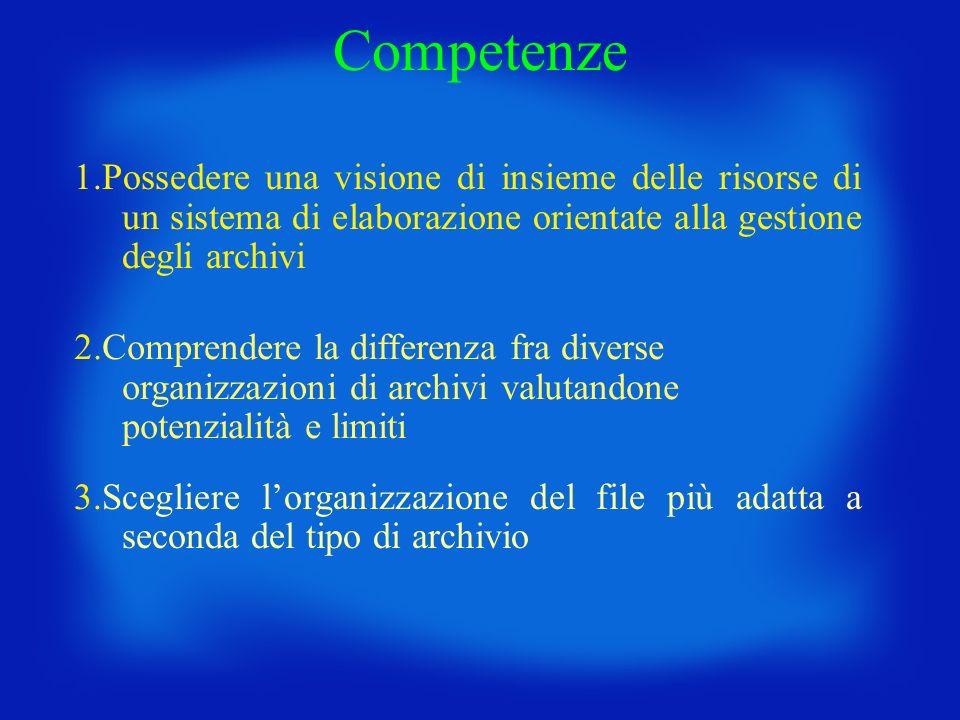 Competenze 1.Possedere una visione di insieme delle risorse di un sistema di elaborazione orientate alla gestione degli archivi 2.Comprendere la diffe