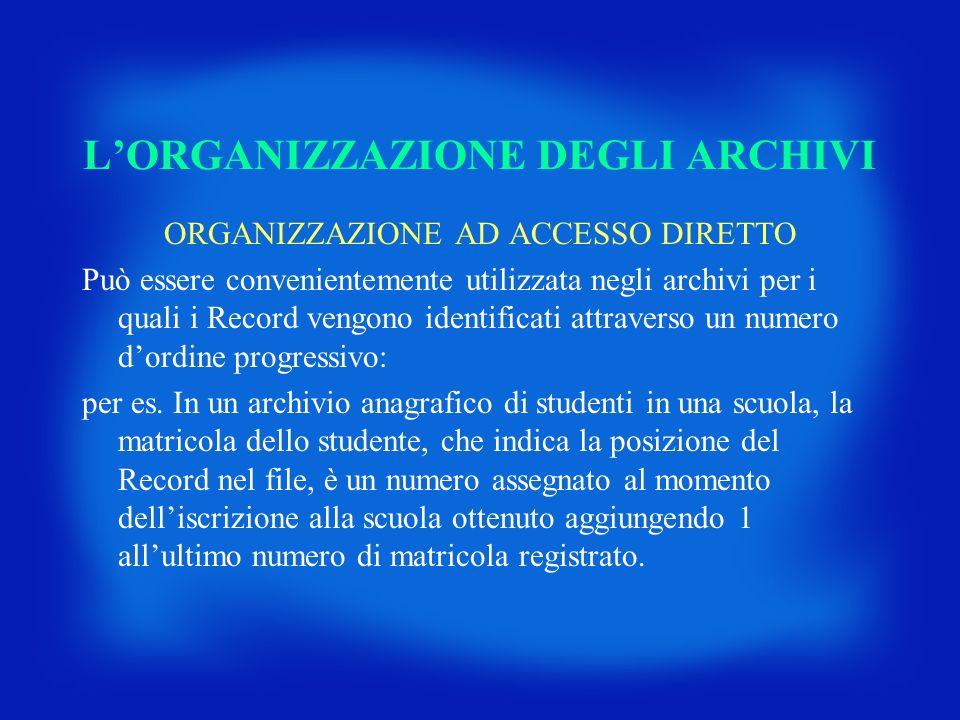 ORGANIZZAZIONE AD ACCESSO DIRETTO Può essere convenientemente utilizzata negli archivi per i quali i Record vengono identificati attraverso un numero