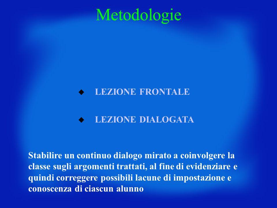 LEZIONE FRONTALE LEZIONE DIALOGATA Metodologie Stabilire un continuo dialogo mirato a coinvolgere la classe sugli argomenti trattati, al fine di evide