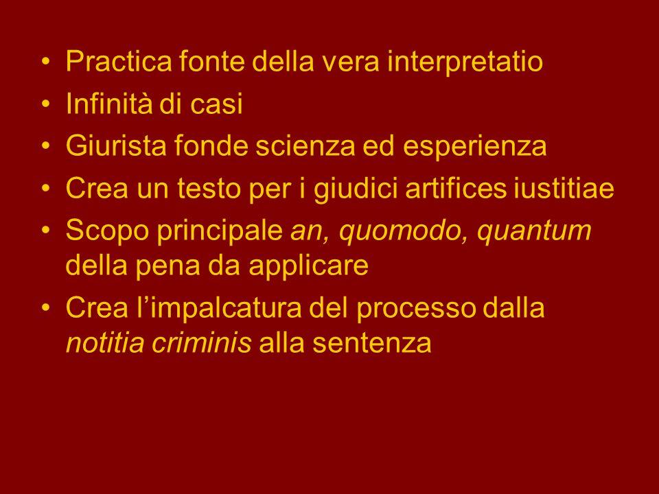 Practica fonte della vera interpretatio Infinità di casi Giurista fonde scienza ed esperienza Crea un testo per i giudici artifices iustitiae Scopo pr