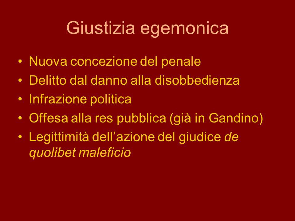 Giustizia egemonica Nuova concezione del penale Delitto dal danno alla disobbedienza Infrazione politica Offesa alla res pubblica (già in Gandino) Leg
