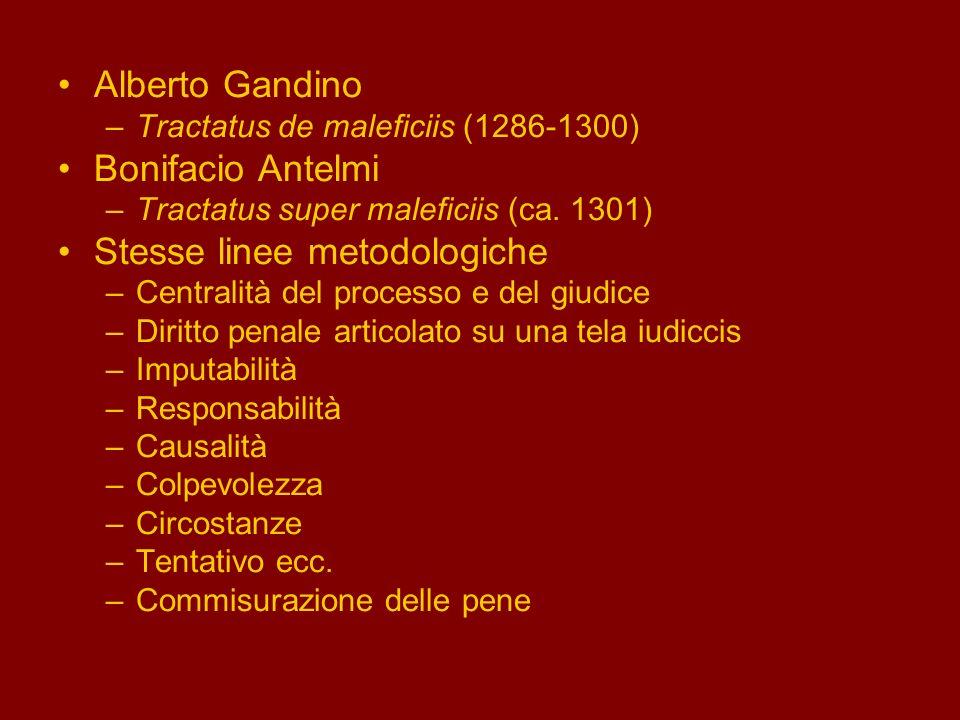 Alberto Gandino –Tractatus de maleficiis (1286-1300) Bonifacio Antelmi –Tractatus super maleficiis (ca. 1301) Stesse linee metodologiche –Centralità d