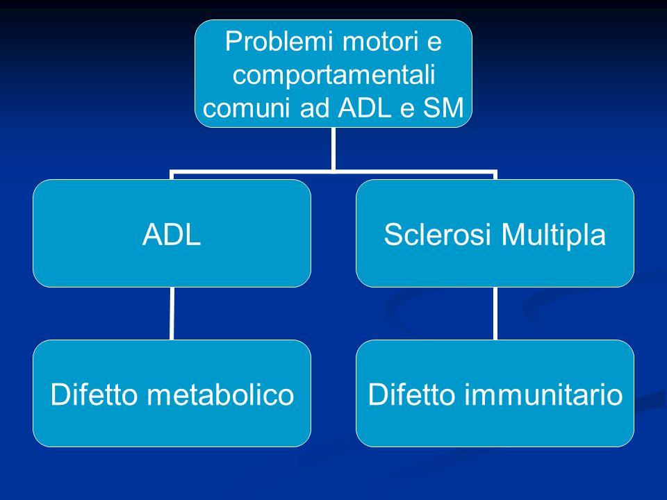 Problemi motori e comportamentali comuni ad ADL e SM ADL Difetto metabolico Sclerosi Multipla Difetto immunitario
