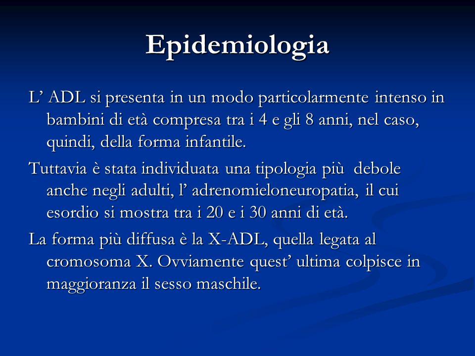 Epidemiologia L ADL si presenta in un modo particolarmente intenso in bambini di età compresa tra i 4 e gli 8 anni, nel caso, quindi, della forma infa
