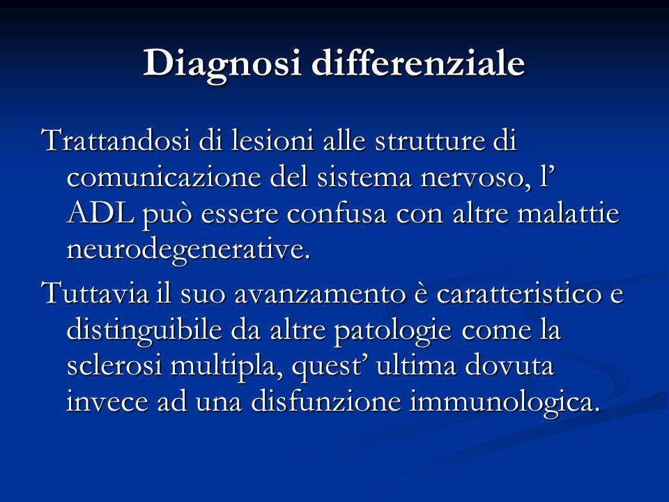 Diagnosi differenziale Trattandosi di lesioni alle strutture di comunicazione del sistema nervoso, l ADL può essere confusa con altre malattie neurode