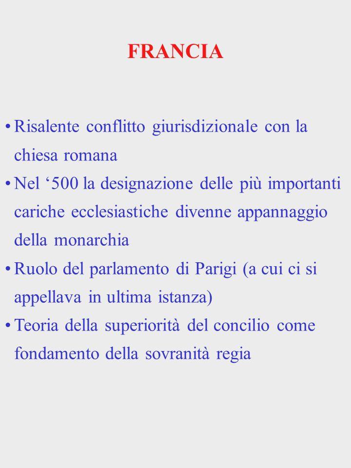 FRANCIA Risalente conflitto giurisdizionale con la chiesa romana Nel 500 la designazione delle più importanti cariche ecclesiastiche divenne appannagg