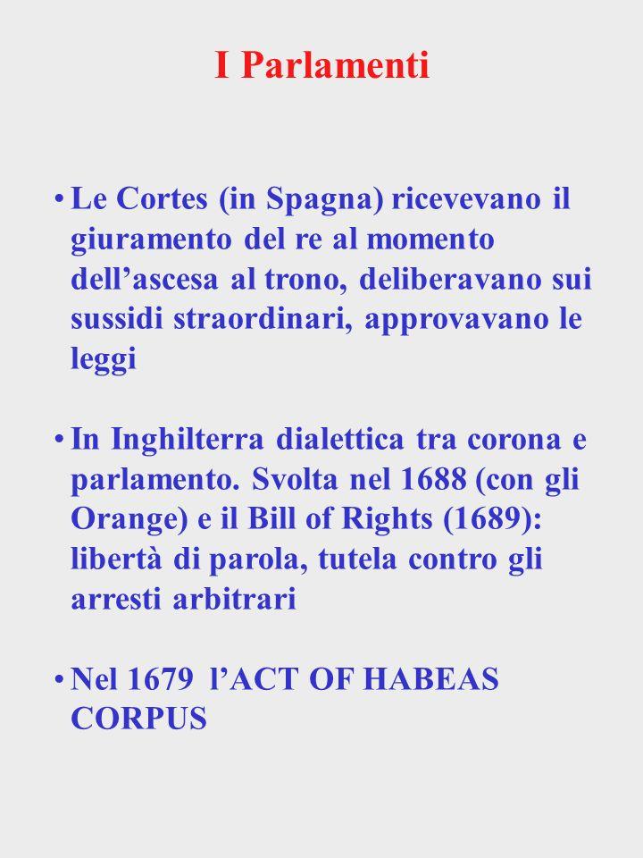 I Parlamenti Le Cortes (in Spagna) ricevevano il giuramento del re al momento dellascesa al trono, deliberavano sui sussidi straordinari, approvavano