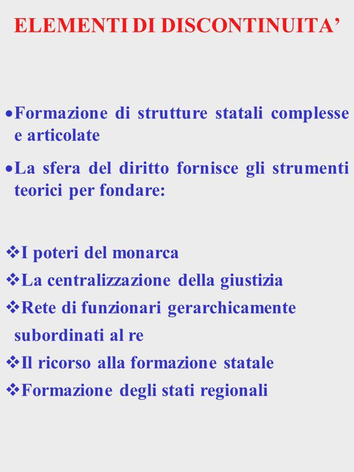 ELEMENTI DI DISCONTINUITA Formazione di strutture statali complesse e articolate La sfera del diritto fornisce gli strumenti teorici per fondare: I po