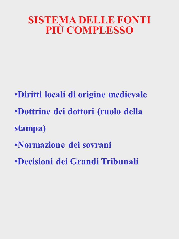 SISTEMA DELLE FONTI PIÙ COMPLESSO Diritti locali di origine medievale Dottrine dei dottori (ruolo della stampa) Normazione dei sovrani Decisioni dei G