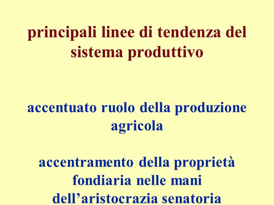 principali linee di tendenza del sistema produttivo accentuato ruolo della produzione agricola accentramento della proprietà fondiaria nelle mani dell
